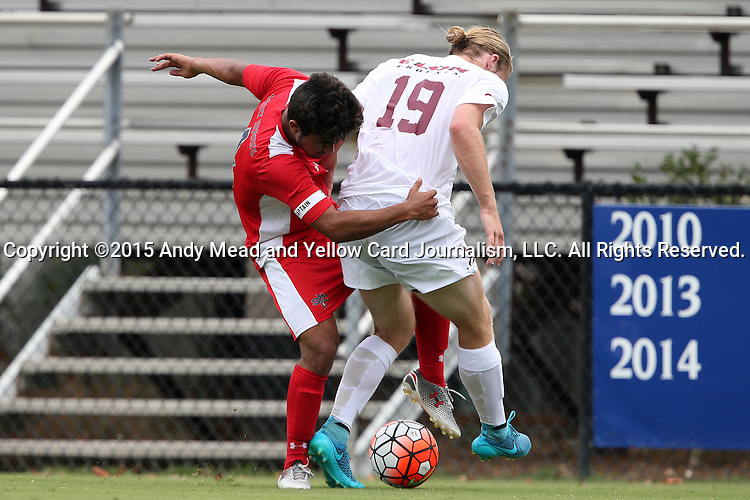 30 August 2015: Saint Mary's Rafael Sanchez (4) and Elon's Nathan Diehl (19). The Elon University Phoenix played the Saint Mary's College Gaels at Koskinen Stadium in Durham, NC in a 2015 NCAA Division I Men's Soccer match. Elon won the game 1-0.