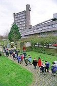 Primary school children on a visit to Meanwhile Gardens in North Kensington, London. The community park, next to the landmark Trellick Tower, is run by a voluntary group and includes a wild flower area, sensory garden, skateboard bowl and nursery for the under-5s. .