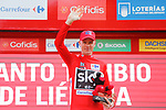 Race leader Christopher Froome (GBR) Team Sky retains the Red Jersey on the podium at the end of Stage 18 of the 2017 La Vuelta, running 169km from Suances to Santo Toribio de Li&eacute;bana, Spain. 7th September 2017.<br /> Picture: Unipublic/&copy;photogomezsport | Cyclefile<br /> <br /> <br /> All photos usage must carry mandatory copyright credit (&copy; Cyclefile | Unipublic/&copy;photogomezsport)