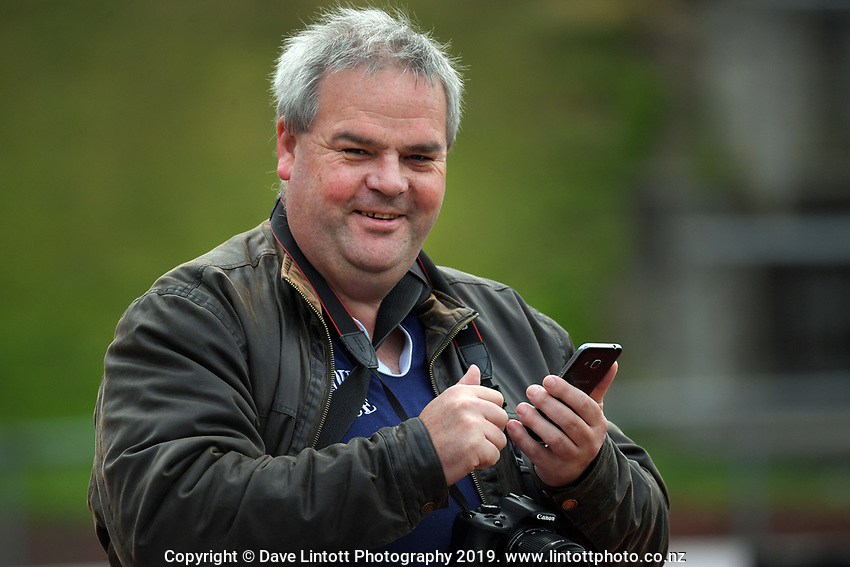 Dave Webster (AKA as TheJourneyFan) covers the Central League football match between Wellington United and Napier City Rovers at Newtown Park in Wellington, New Zealand on Monday, 22 April 2019. Photo: Dave Lintott / lintottphoto.co.nz