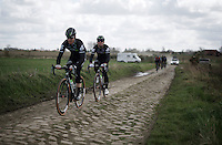 Tyler Farrar (USA/DimensionData) guides Mark Cavendish (GBR/DimensionData) over the cobbles during recon of the 114th Paris - Roubaix