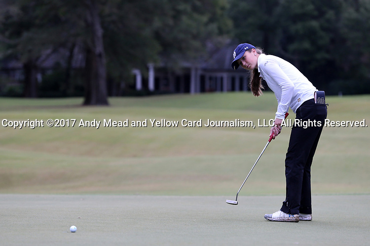 WILMINGTON, NC - OCTOBER 28: Notre Dame's Abby Heck on the 11th green. The second round of the Landfall Tradition Women's Golf Tournament was held on October 28, 2017 at the Pete Dye Course at the Country Club of Landfall in Wilmington, NC.