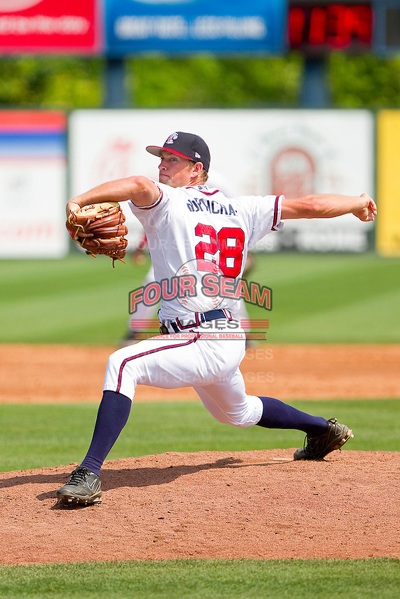 Relief pitcher Aaron Northcraft #28 of the Rome Braves in action against the Hagerstown Suns at State Mutual Stadium on May 2, 2011 in Rome, Georgia.   Photo by Brian Westerholt / Four Seam Images