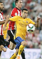 Athletic de Bilbao's Aymeric Laporte (l) and FC Barcelona's Pedro Rodriguez during Supercup of Spain 1st match.August 14,2015. (ALTERPHOTOS/Acero)