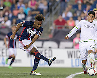 Foxborough, Massachusetts - May 28, 2016: In a Major League Soccer (MLS) match, New England Revolution (blue/white) defeated Seattle Sounders FC (white), 2-1, at Gillette Stadium.