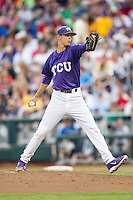 TCU Horned Frogs pitcher Trey Teakell (40) delivers a pitch to the plate against the LSU Tigers in Game 10 of the NCAA College World Series on June 18, 2015 at TD Ameritrade Park in Omaha, Nebraska. TCU defeated the Tigers 8-4, eliminating LSU from the tournament. (Andrew Woolley/Four Seam Images)