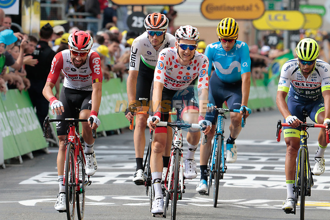 Team mates Thomas De Gendt and Polka Dot Jersey Tim Wellens (BEL) Lotto-Soudal cross the finish line at the end of Stage 12 of the 2019 Tour de France running 209.5km from Toulouse to Bagneres-de-Bigorre, France. 18th July 2019.<br /> Picture: ASO/Colin Flockton | Cyclefile<br /> All photos usage must carry mandatory copyright credit (© Cyclefile | Colin Flockton)
