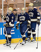 Shayne Taker (Notre Dame - 3), Mike Voran (Notre Dame - 16), Stephen Johns (Notre Dame - 28) - The University of Notre Dame Fighting Irish defeated the Merrimack College Warriors 4-3 in overtime in their NCAA Northeast Regional Semi-Final on Saturday, March 26, 2011, at Verizon Wireless Arena in Manchester, New Hampshire.
