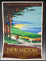 BNPS.co.uk (01202 558833)<br /> Pic:   LindsayBurns&Co/BNPS<br /> <br /> Poster advertising New Milton in Hants, where the New Forest meets the south coast.<br /> <br /> A collection of stylish vintage railway posters which celebrate the golden age of the seaside package holiday have been unearthed during a house clearance.<br /> <br /> The colourful 1950s posters were discovered under a pile of knick-knacks at the back of a cupboard in a deceased elderly couple's flat in Perthshire, east Scotland.<br /> <br /> They include a racy image of a lady in a bikini promoting the resort of Mablethorpe, Lincs, and a sweet picture of a mother playing with her young child on the beach at Bognor Regis, West Sussex.<br /> <br /> In total, eight posters produced by British Railways will go under the hammer with auction house Lindsay Burns & Co of Perth, where they are expected to fetch £1,000.