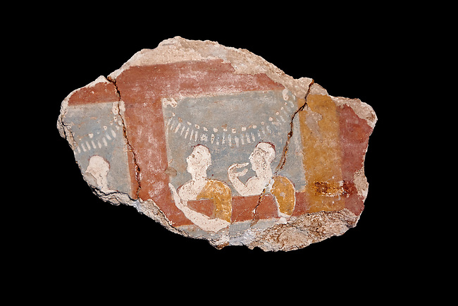 Mycenaean fresco wall painting of three women, Ramp House, Mycenae Acropolis, Greece Cat No 1015. National Archaeological Museum, Athens. Black Background<br /> <br /> This 14th Cent BC Mycenaean fresco fragment depicts three women looking out of a window. The scene is festive and the veneration gestures of the women suggest that they are watching a religiuos procession through the window.