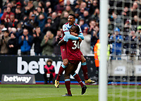 29th February 2020; London Stadium, London, England; English Premier League Football, West Ham United versus Southampton; Michail Antonio of West Ham United celebrates scoring his sides 3rd goal in the 54th minute to make it 3-1 with Sebastien Haller of West Ham United