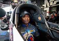 Feb 9, 2019; Pomona, CA, USA; NHRA top fuel driver Antron Brown during qualifying for the Winternationals at Auto Club Raceway at Pomona. Mandatory Credit: Mark J. Rebilas-USA TODAY Sports