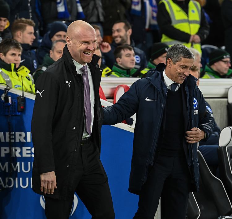 Burnley manager Sean Dyche (left) & Brighton & Hove Albion manager Chris Hughton (right) <br /> <br /> Photographer David Horton/CameraSport<br /> <br /> The Premier League - Brighton and Hove Albion v Burnley - Saturday 9th February 2019 - The Amex Stadium - Brighton<br /> <br /> World Copyright © 2019 CameraSport. All rights reserved. 43 Linden Ave. Countesthorpe. Leicester. England. LE8 5PG - Tel: +44 (0) 116 277 4147 - admin@camerasport.com - www.camerasport.com