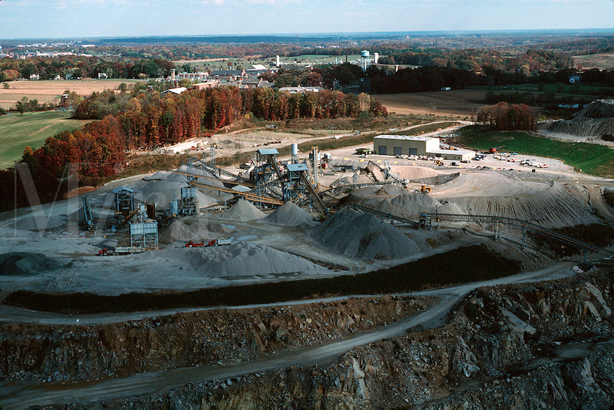 Aerial view of a rock and stone quarry. Virginia.