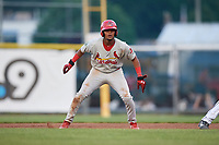 Johnson City Cardinals second baseman Moises Castillo (7) leads off first base during the second game of a doubleheader against the Princeton Rays on August 17, 2018 at Hunnicutt Field in Princeton, Virginia.  Princeton defeated Johnson City 12-1.  (Mike Janes/Four Seam Images)