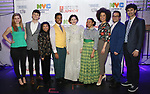 Students from Frank Sinatra School of the Arts with Molly Griggs, Charlie Stemp, Baayork Lee, Sasha Hutchings, Peter Avery and John Cariani backstage at The Fourth Annual High School Theatre Festival at The Shubert Theatre on March 19, 2018 in New York City.