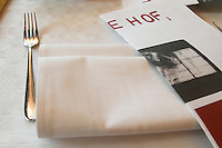 A table with a linen napkin a silver fork and the folded menu at the gastronomic restaurant Sture Hof Stockholm, Sweden, Sverige, Europe
