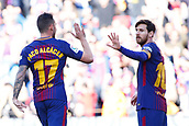 18th March 2018, Camp Nou, Barcelona, Spain; La Liga football, Barcelona versus Athletic Bilbao; Paco Alcacer of FC Barcelona celebrates his 8th minute goal for  1-0 with Leo Messi of FC Barcelona