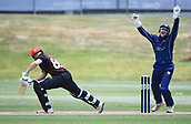 6th December 2017, Eden Park, Auckland, New Zealand; Ford Trophy One Day Cricket, Auckland Aces versus Canterbury Wizards;  Michael Pollard is caught behind by Ben Horne