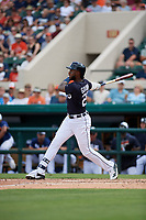 Detroit Tigers designated hitter Niko Goodrum (28) follows through on a swing during a Grapefruit League Spring Training game against the New York Yankees on February 27, 2019 at Publix Field at Joker Marchant Stadium in Lakeland, Florida.  Yankees defeated the Tigers 10-4 as the game was called after the sixth inning due to rain.  (Mike Janes/Four Seam Images)