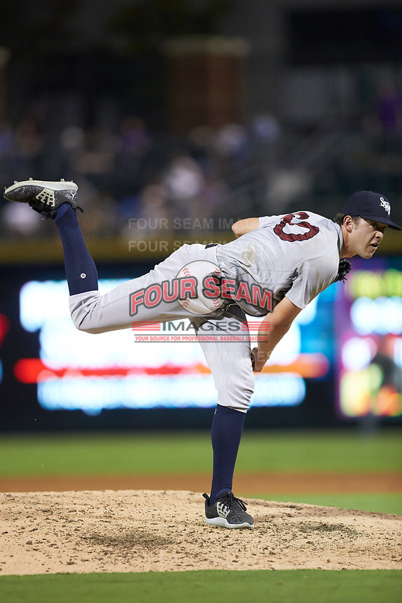 Scranton/Wilkes-Barre RailRiders relief pitcher Will Carter (60) follows through on his delivery against the Charlotte Knights at BB&T BallPark on August 13, 2019 in Charlotte, North Carolina. The Knights defeated the RailRiders 15-1. (Brian Westerholt/Four Seam Images)