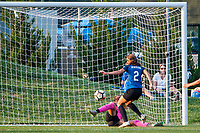 Kansas City, MO - Wednesday August 16, 2017: Shea Groom, Kailen Sheridan during a regular season National Women's Soccer League (NWSL) match between FC Kansas City and Sky Blue FC at Children's Mercy Victory Field.