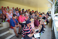 Fans and team management watch the Super Rugby preseason match between the Hurricanes and Blues from the grandstand at Eketahuna, New Zealand on Saturday, 13 February 2016. Photo: Dave Lintott / lintottphoto.co.nz