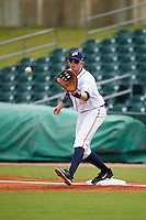 Montgomery Biscuits first baseman Cameron Seitzer (33) waits for a throw during a game against the Tennessee Smokies on May 25, 2015 at Riverwalk Stadium in Montgomery, Alabama.  Tennessee defeated Montgomery 6-3 as the game was called after eight innings due to rain.  (Mike Janes/Four Seam Images)