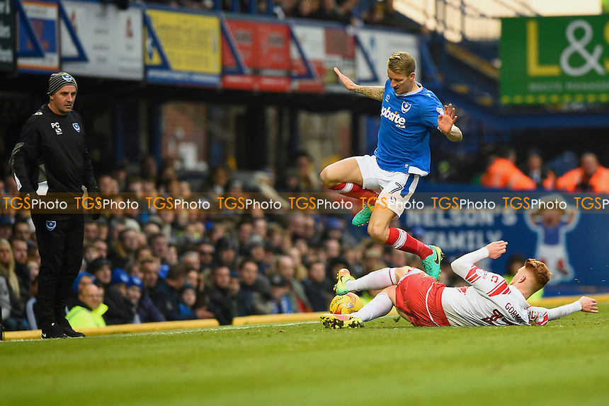 Dale Gorman of Stevenage tackles Carl Baker of Portsmouth during Portsmouth vs Stevenage, Sky Bet EFL League 2 Football at Fratton Park on 26th November 2016