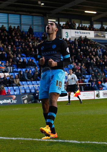 30.01.2016. New Meadow, Shrewsbury, England. Emirates FA Cup 4th Round. Shrewsbury versus Sheffield Wednesday. Sheffield Wednesday midfielder Lewis McGugan celebrates after scoring his team's second goal.