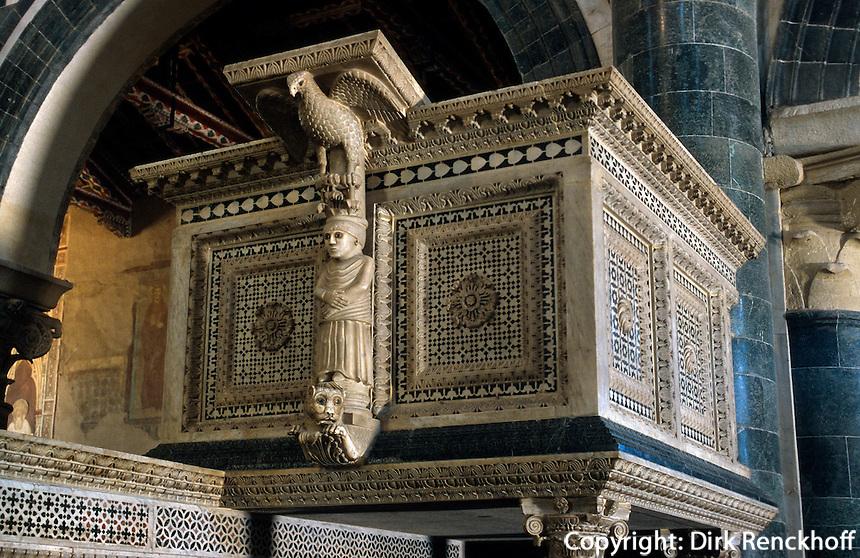 San Miniato al Monte, Kanzel von ca 1200, Florenz, Toskana, Italien, Unesco-Weltkulturerbe