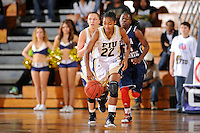 21 January 2012:  FIU guard Jerica Coley (22) pursues a loose ball in the second half as the Florida Atlantic University Owls defeated the FIU Golden Panthers, 50-49, at the U.S. Century Bank Arena in Miami, Florida.