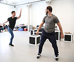 "Matt Doyle and Evan Kasprzak during a press Sneak-Peek for The Joyce Theater's presentation of ""Freddie Falls in Love"" at Gibney Dance on July 15, 2019 in New York City."