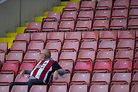 A fan with plenty of room as the early round of the Cababao cup fails to draw a big crowd during the Carabao Cup match between Sheffield United and Leicester City at Bramall Lane, Sheffield, England on 22 August 2017. Photo by James Williamson / PRiME Media Images.