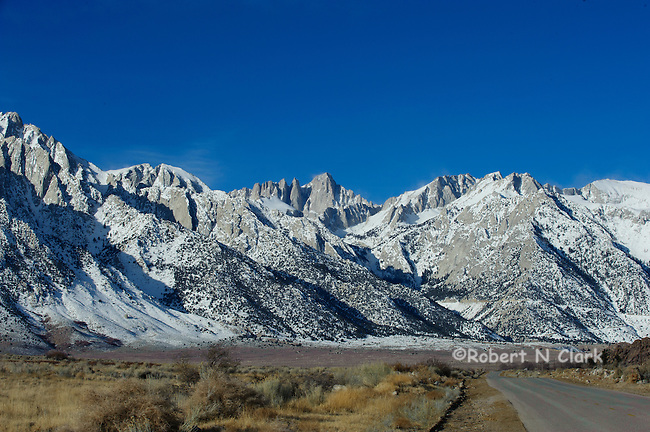 Mount Whitney and surrounding peaks on a winter morning