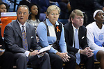 16 November 2014: UNC head coach Sylvia Hatchell (center) with assistant coaches Andrew Calder (right) and Bill Lee (left). The University of North Carolina Tar Heels hosted the University of California Los Angeles Bruins at Carmichael Arena in Chapel Hill, North Carolina in a 2014-15 NCAA Division I Women's Basketball game. UNC won the game 84-68.