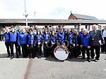 An Taoiseach leo Varadkar and Mayor Frank Godfrey with the Drogheda Brass Band at Fleadh Ceoil na hEireann. Photo:Colin Bell/pressphotos.ie
