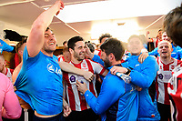 Lincoln City's Richard Walton, left, Lincoln City's Sam Habergham and Lincoln City manager Danny Cowley  celebrate in the changing room after the game<br /> <br /> Photographer Chris Vaughan/CameraSport<br /> <br /> Vanarama National League - Lincoln City v Macclesfield Town - Saturday 22nd April 2017 - Sincil Bank - Lincoln<br /> <br /> World Copyright &copy; 2017 CameraSport. All rights reserved. 43 Linden Ave. Countesthorpe. Leicester. England. LE8 5PG - Tel: +44 (0) 116 277 4147 - admin@camerasport.com - www.camerasport.com