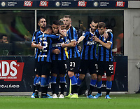 Calcio, Serie A: Inter Milano - Juventus, Giuseppe Meazza stadium, October 6 2019.<br /> Inter's Lautaro Martinez celebrates after scoring with his teammates during the Italian Serie A football match between Inter and Juventus at Giuseppe Meazza (San Siro) stadium, October 6, 2019.<br /> UPDATE IMAGES PRESS/Isabella Bonotto