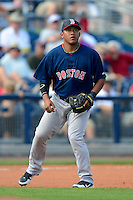 Boston Red Sox third baseman Heiker Meneses #88 during a Grapefruit League Spring Training game against the Tampa Bay Rays at Charlotte County Sports Park on February 25, 2013 in Port Charlotte, Florida.  Tampa Bay defeated Boston 6-3.  (Mike Janes/Four Seam Images)