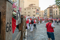 Europe,Spain,Pamplona,San Firmin festival 2018, Encierro, a memory for a victim of the last fastival