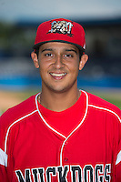 Batavia Muckdogs infielder Carlos Lopez (36) poses for a photo before a game against the Tri-City ValleyCats on July 14, 2013 at Dwyer Stadium in Batavia, New York.  Tri-City defeated Batavia 7-0.  (Mike Janes/Four Seam Images)