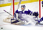 2 February 2020: Holy Cross Crusader Goaltender Jada Brenon, a Sophomore from Pendleton, NY, makes a third period save against the University of Vermont Catamounts at Gutterson Fieldhouse in Burlington, Vermont. Brenon made 51 saves in the game, keeping the Crusaders in the lead for almost the entire game. However, the Lady Cats rallied in the 3rd period to tie the Crusaders 2-2 in NCAA Women's Hockey East play. Mandatory Credit: Ed Wolfstein Photo *** RAW (NEF) Image File Available ***