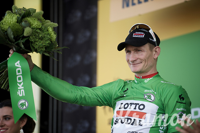 André Greipel (DEU/Lotto-Soudal) takes the stage to receive flowers and the green jersey<br /> <br /> stage 2: Utrecht - Neeltje Jans (166km)<br /> 2015 Tour de France