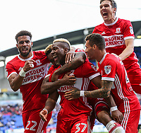 Middlesbrough's  Britt Assombalonga celebrates with his team mates after scoring their second goal<br /> <br /> Photographer Andrew Kearns/CameraSport<br /> <br /> The EFL Sky Bet Championship - Bolton Wanderers v Middlesbrough - Saturday 9th September 2017 - Macron Stadium - Bolton<br /> <br /> World Copyright &copy; 2017 CameraSport. All rights reserved. 43 Linden Ave. Countesthorpe. Leicester. England. LE8 5PG - Tel: +44 (0) 116 277 4147 - admin@camerasport.com - www.camerasport.com