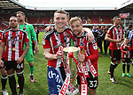 Sheffield United's Caolan Lavery celebrates with Harry Chapman during the League One match at Bramall Lane, Sheffield. Picture date: April 30th, 2017. Pic David Klein/Sportimage
