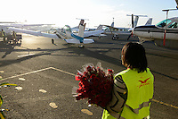 KENYA, Nairobi, Wilson airport, aircraft service employee Skyward express presents roses to passengers for Valentins Day