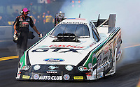 Oct 4, 2013; Mohnton, PA, USA; NHRA funny car driver John Force during qualifying for the Auto Plus Nationals at Maple Grove Raceway. Mandatory Credit: Mark J. Rebilas-