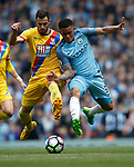 Luka Milivojevic of Crystal Palace in action with Gabriel Jesus of Manchester City during the English Premier League match at the Etihad Stadium, Manchester. Picture date: May 6th 2017. Pic credit should read: Simon Bellis/Sportimage