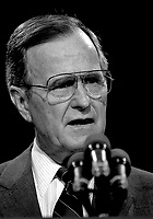 Washington, DC. 4-18-1991<br /> President George H.W. Bush along with Secretary of Education Lamar Alexander gives a strategy briefing on the state of National Education. <br /> CAP/MPI/MRN<br /> &copy;MRNJ/MPI/Capital Pictures
